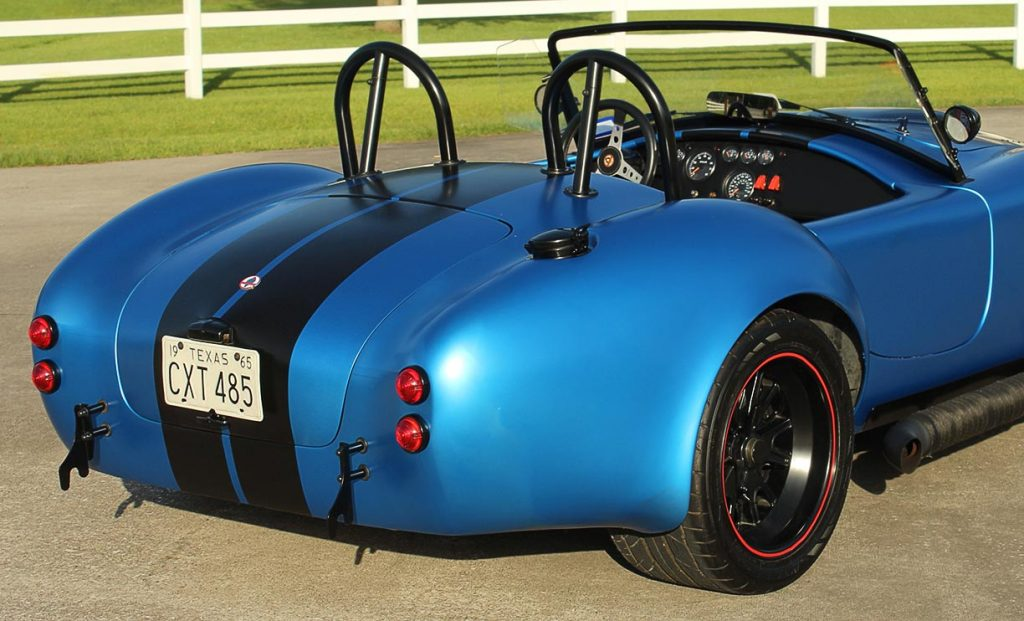 rear-quarter shot (passenger side) of 3M Blue Metallic Backdraft Racing 427SC Shelby classic Cobra replica for sale, BDR621