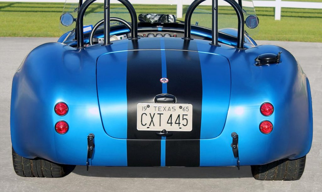 head-on rear shot of 3M Blue Metallic Backdraft Racing 427SC Shelby classic Cobra replica for sale, BDR621