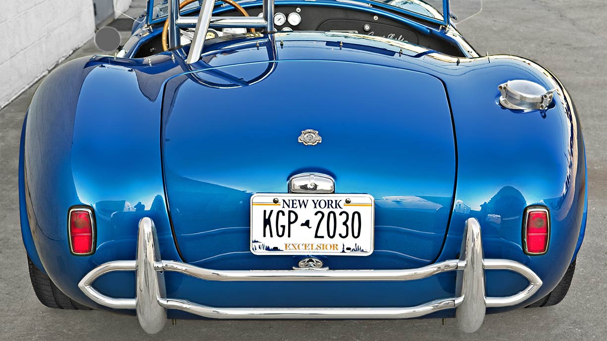 rear of 40th Anniversary 427SC Shelby Cobra for sale, CSX4338, painted in Anniversary Blue