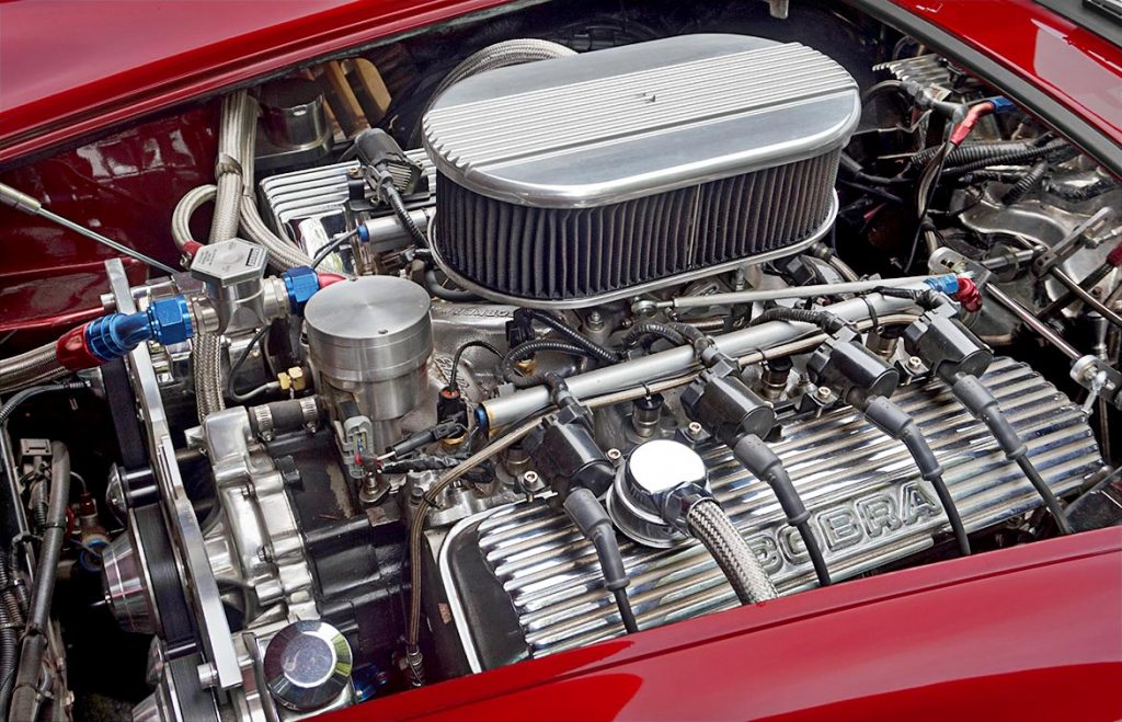 engine photo of Ruby Red Pacific Roadster 427SC Shelby classic Cobra for sale