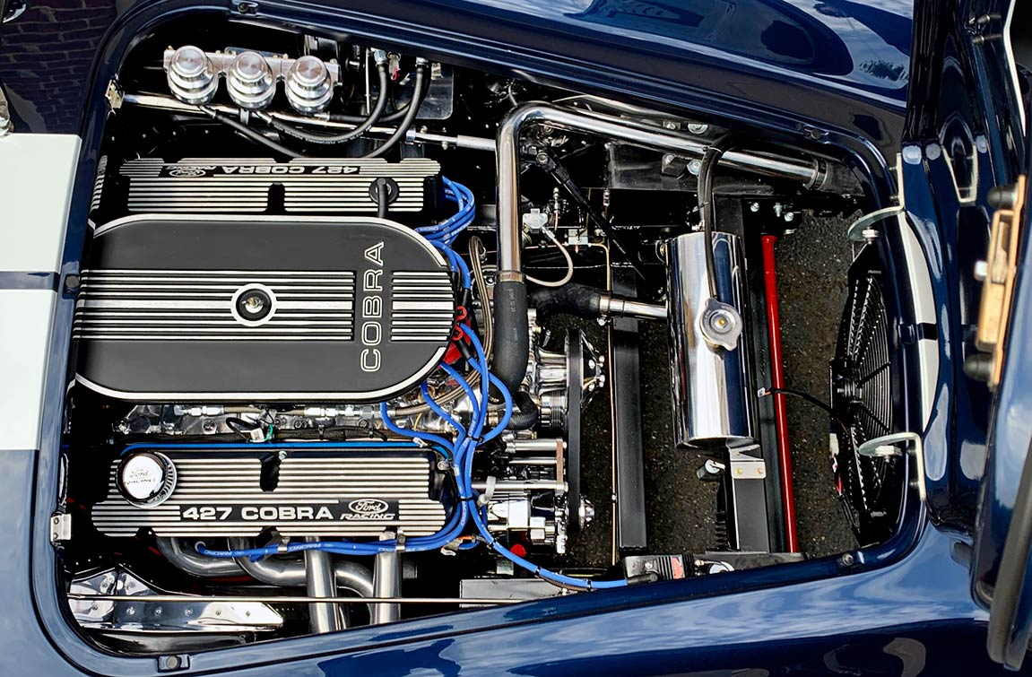 Ford Racing 427 [427cid] stroker Windsor engine in Indigo Blue/white stripes Backdraft Racing 427SC Shelby classic Cobra replica for sale by owner, BDR2092