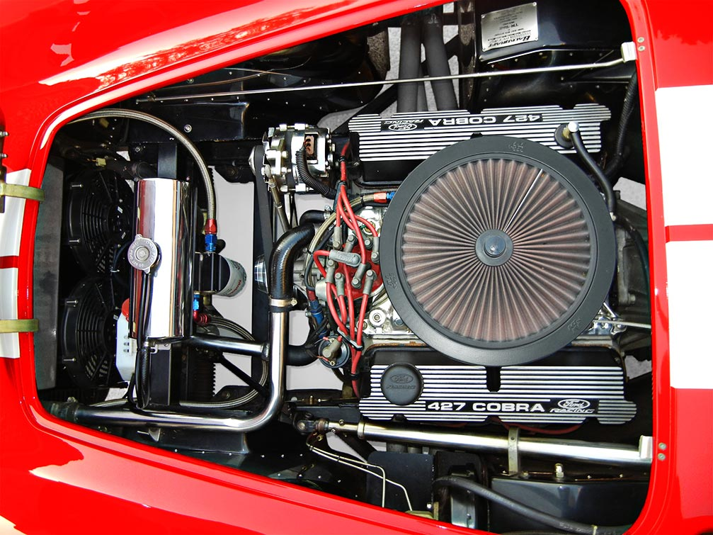 engine shot of Rosso Red Backdraft Racing 427SC Shelby classic Cobra for sale