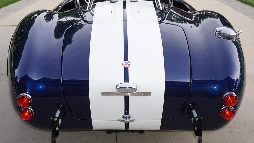 head-on rear shot of Audi Navarra Blue Unique Motorcars 427SC Shelby classic Cobra for sale