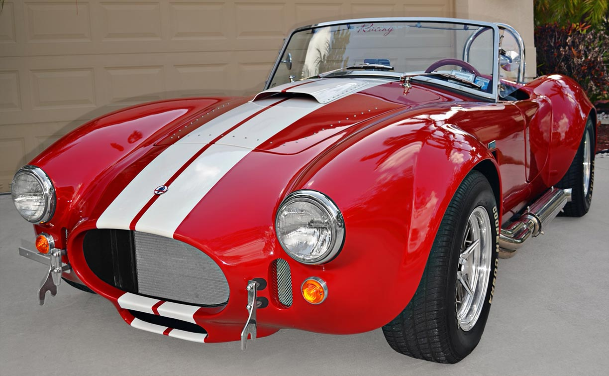 3/4-frontal shot (driver side) of Rossa Red 427SC Shelby classic Backdraft Racing Cobra for sale by owner, BDR661