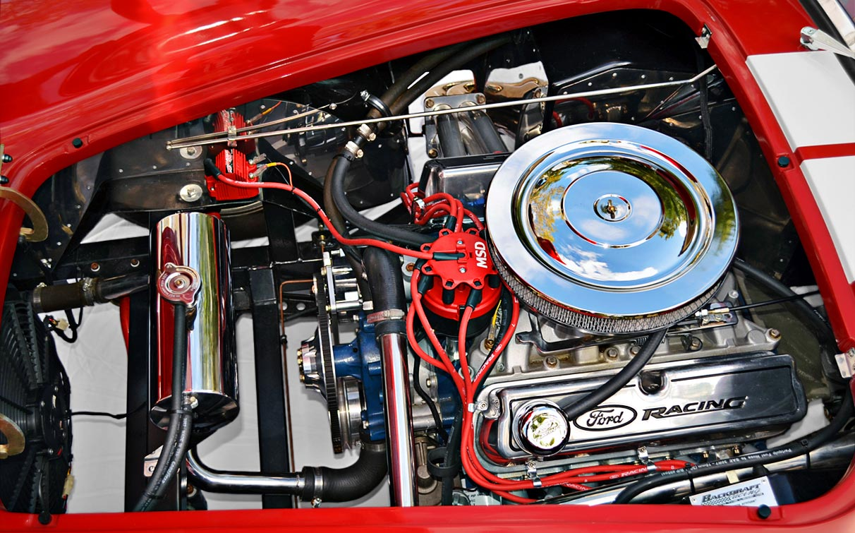1969 Ford 351W V8 5.8L engine photo#1 (from driver side) of Rossa Red 427SC Shelby classic Backdraft Racing Cobra for sale by owner, BDR661