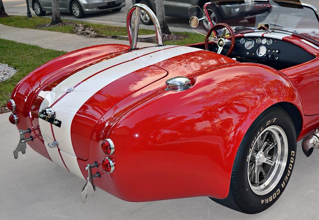 rear-quarter shot#1 (passenger side) of Rossa Red 427SC Shelby classic Backdraft Racing Cobra for sale by owner, BDR661
