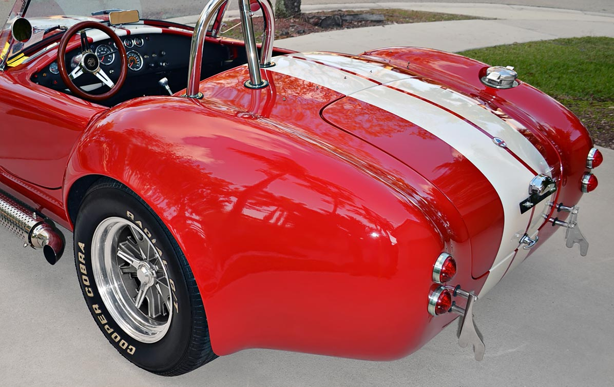 rear-quarter shot#2 (driver side) of Rossa Red 427SC Shelby classic Backdraft Racing Cobra for sale by owner, BDR661