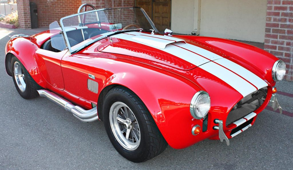 3/4-frontal shot (passenger side) of Guards Red Hi-Tech Motorsports 427SC Shelby classic Cobra for sale by owner