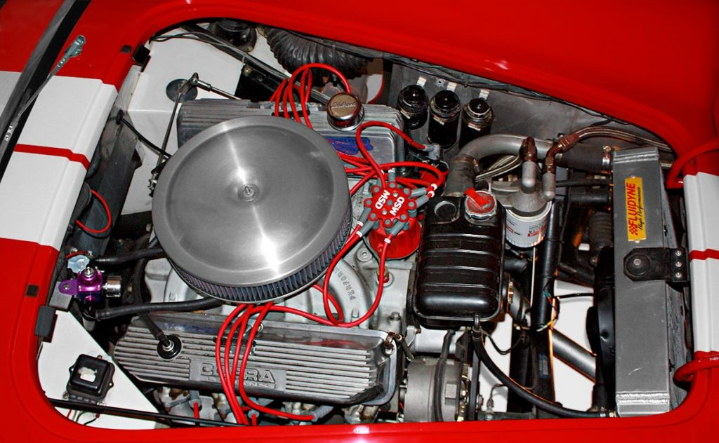 390FE engine shot of Guards Red Hi-Tech Motorsports 427SC Shelby classic Cobra for sale by owner