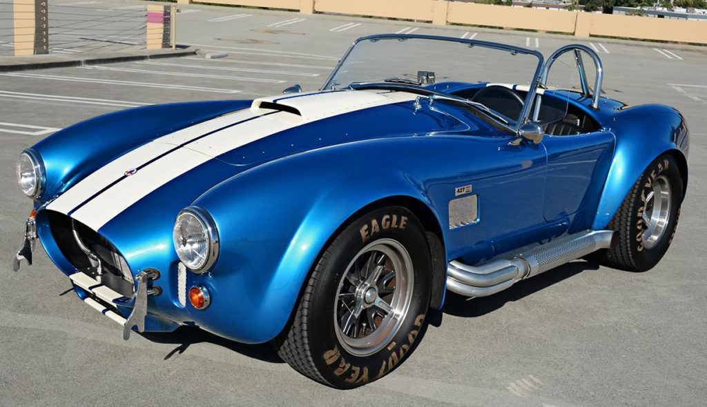3/4-frontal view of Guardsman Blue/white stripes Superformance 427SC Cobra for sale, SPO3164
