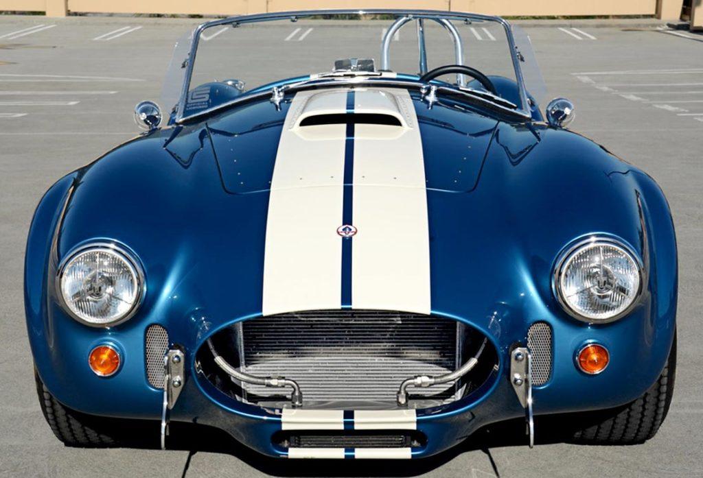 head-on front shot of Guardsman Blue/white stripes Superformance 427SC Cobra for sale, SPO3164