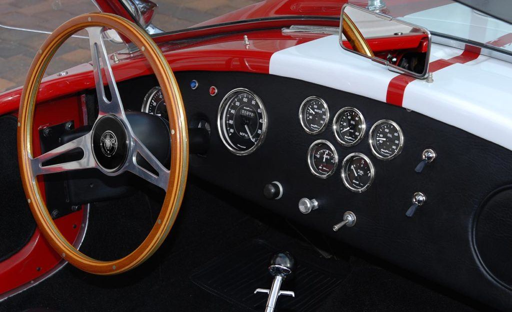 instrument panel shot of Phoenix Red E.R.A. 427SC Shelby Cobra vehicle for sale by owner