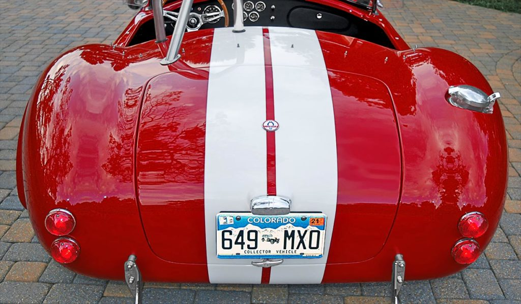 head-on rear shot of Phoenix Red E.R.A. 427SC Shelby Cobra vehicle for sale by owner