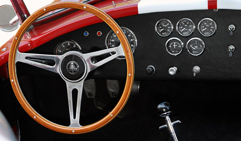dashboard shot of Phoenix Red E.R.A. 427SC Shelby Cobra vehicle for sale by owner