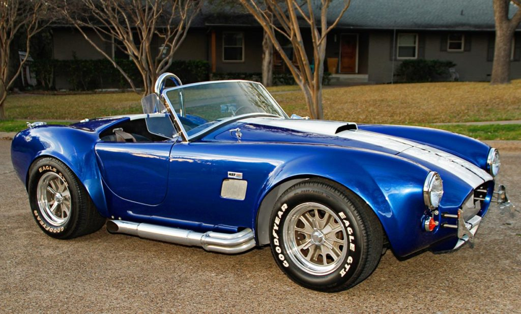 3/4-frontal photo (passenger side) of Prussian Blue Factory Five Racing 427SC Cobra for sale by owner; category: classic Shelby Cobra Vehicle for Sale