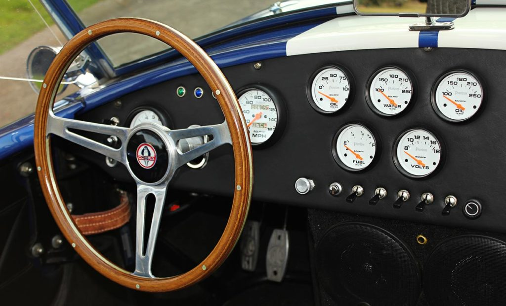 dashboard shot of Prussian Blue Factory Five Racing 427SC Cobra for sale by owner for sale; category: classic Shelby Cobra Vehicle for Sale