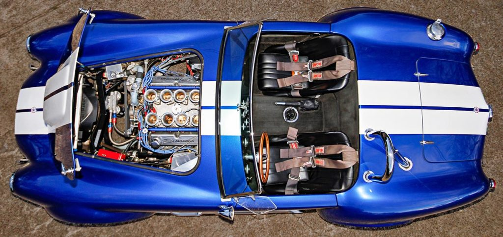 overhead (aerial) photo of Prussian Blue Factory Five Racing 427SC Cobra for sale by owner