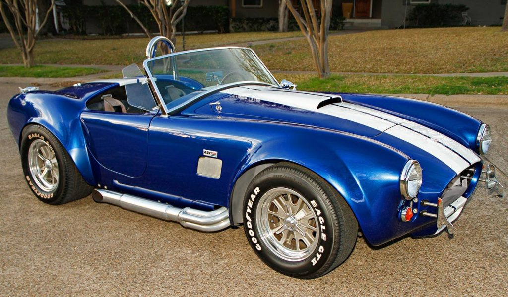 3/4-frontal photo (passenger side) of Prussian Blue Factory Five Racing 427SC Cobra for sale by owner