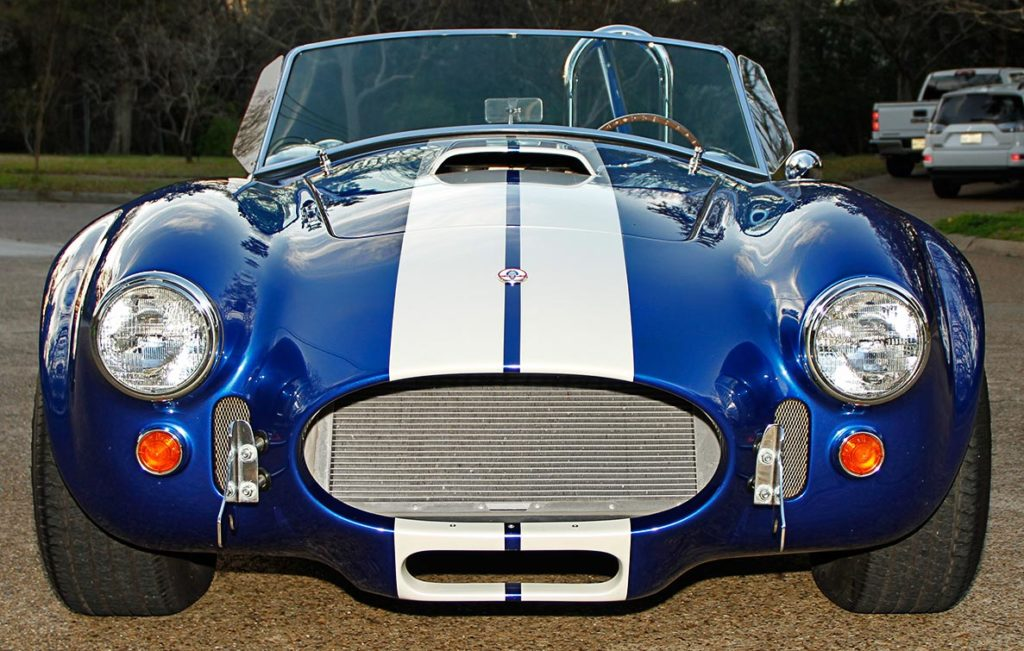 head-on frontal shot of Prussian Blue Factory Five Racing 427SC Cobra for sale by owner