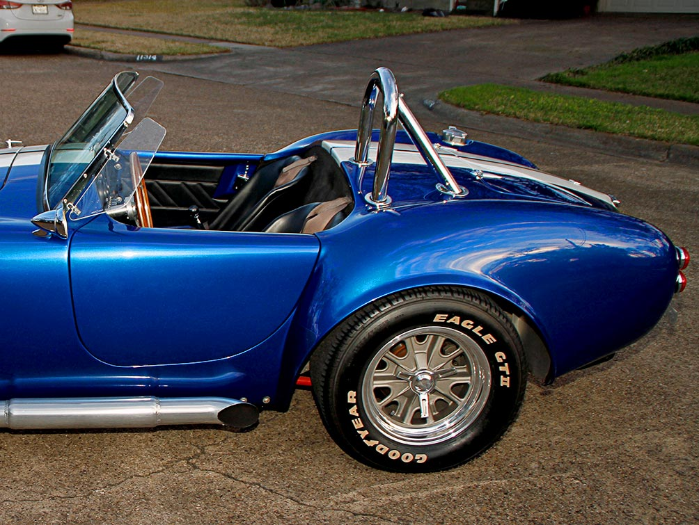rear-quarter view (driver side) of Prussian Blue Factory Five Racing 427SC Cobra for sale by owner