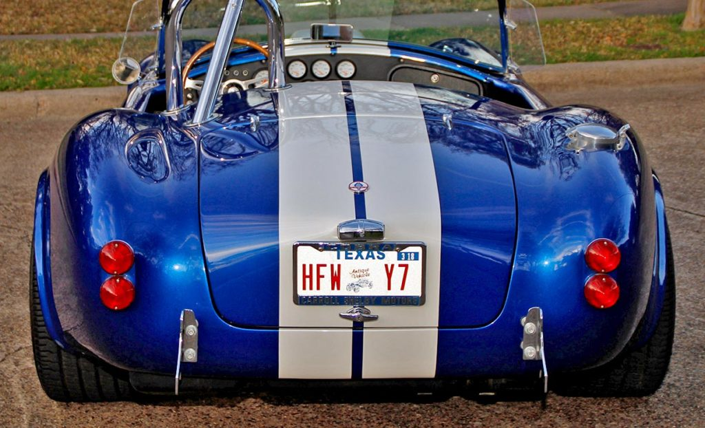 straight-on rear view (higher angle) of Prussian Blue Factory Five Racing 427SC Cobra for sale by owner