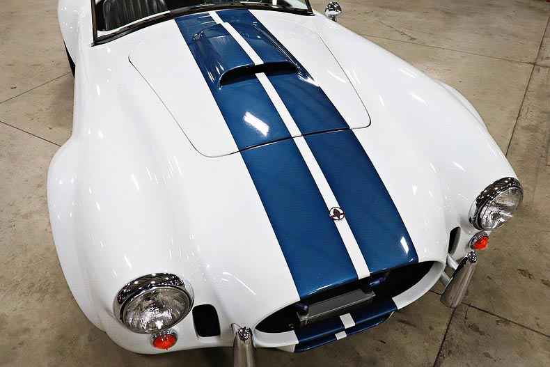 aerial fronal shot of Grand Prix White/LeMans Blue stripes Classic Roadsters 427SC Shelby classic Cobra for sale by owner