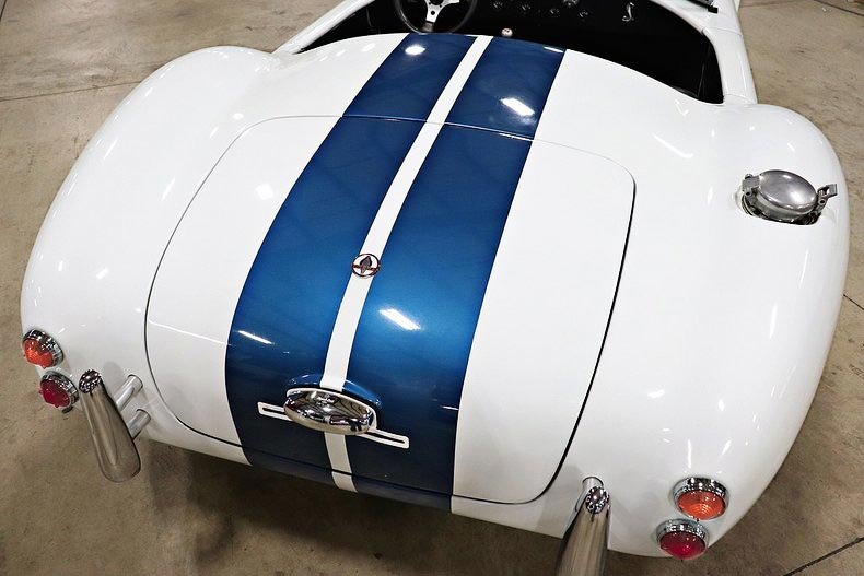 rear shot of Grand Prix White/LeMans Blue stripes Classic Roadsters 427SC Shelby classic Cobra for sale by owner