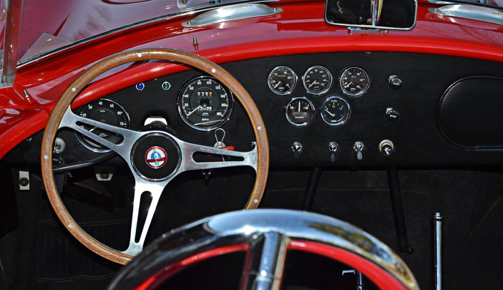 dashboard shot (driver side) of Red ERA (E.R.A., Era Replica Automobiles) 427SC Cobra for sale
