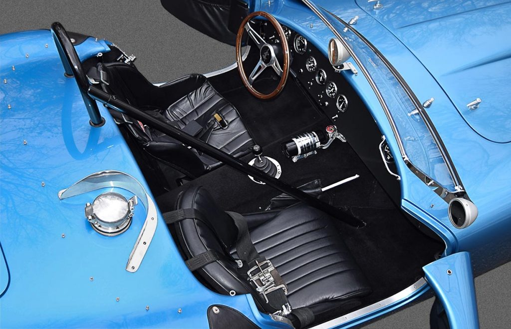 cockpit shot (from passenger side) of Maui Blue E.R.A. 289FIA Shelby classic Cobra for sale by owner