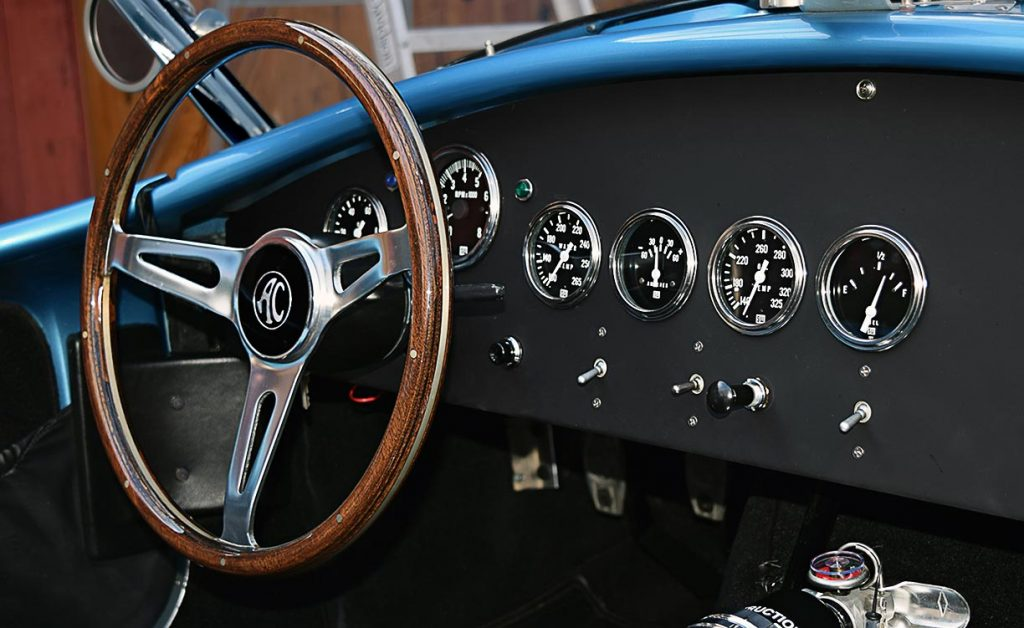 dashboard shot (driver side) of Maui Blue E.R.A. 289FIA Shelby classic Cobra for sale by owner