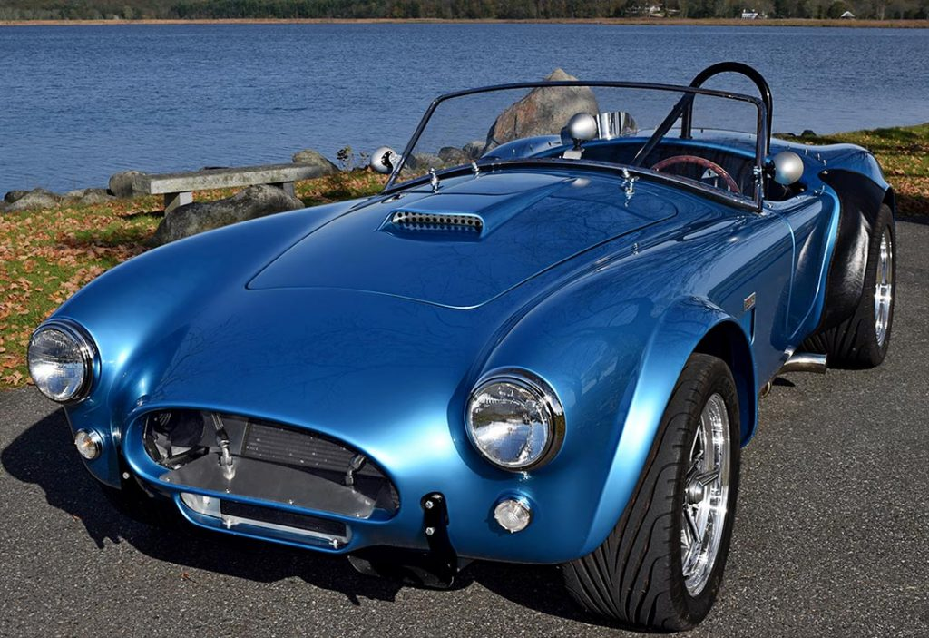 3/4-frontal shot of Maui Blue E.R.A. 289FIA Shelby classic Cobra for sale by owner