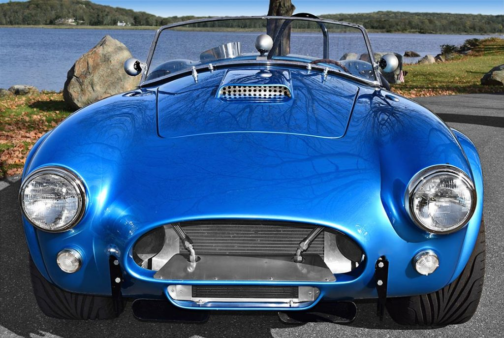 head-on frontal shot of Maui Blue E.R.A. 289FIA Shelby classic Cobra for sale by owner