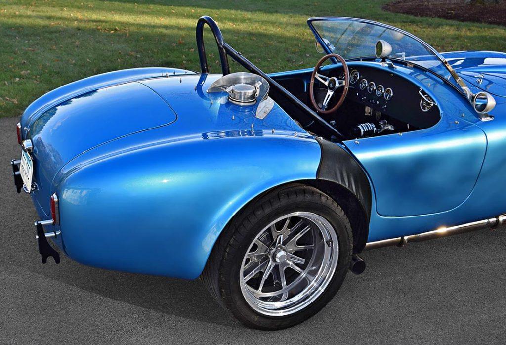 rear-quarter shot (passenger side) of Maui Blue E.R.A. 289FIA Shelby classic Cobra for sale by owner