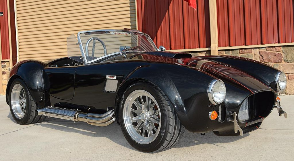 3/4-frontal shot of Black Magic Backdraft Racing 427SC Shelby classic Cobra for sale, BDR1050