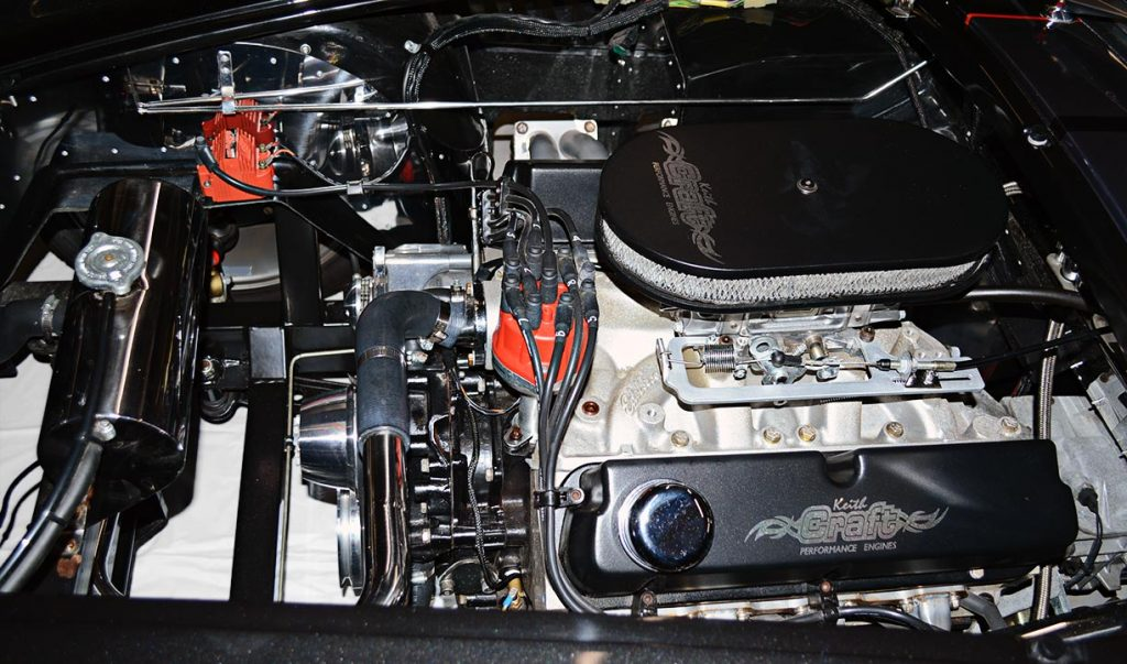393 cid engine photo of Black Magic Backdraft Racing 427SC Shelby classic Cobra for sale, BDR1050