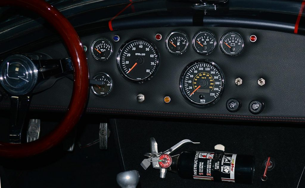 dashboard shot of Black Magic Backdraft Racing 427SC Shelby classic Cobra for sale, BDR1050