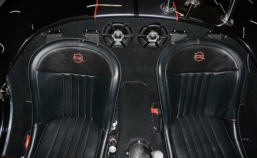 seating area shot of Black Magic Backdraft Racing 427SC Shelby classic Cobra for sale, BDR1050