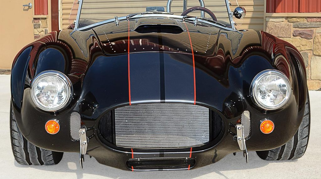 head-on frontal shot of Black Magic Backdraft Racing 427SC Shelby classic Cobra for sale, BDR1050