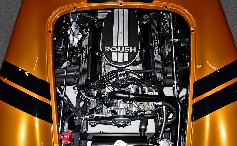 engine shot#3 (direct overhead view) of Giallo Capri (bronze) Backdraft Racing 427SC Shelby classic Cobra replica for sale, BDR1477