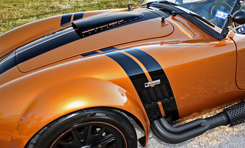 front quarter (driver side) of Giallo Capri (bronze) Backdraft Racing 427SC Shelby classic Cobra replica for sale, BDR1477