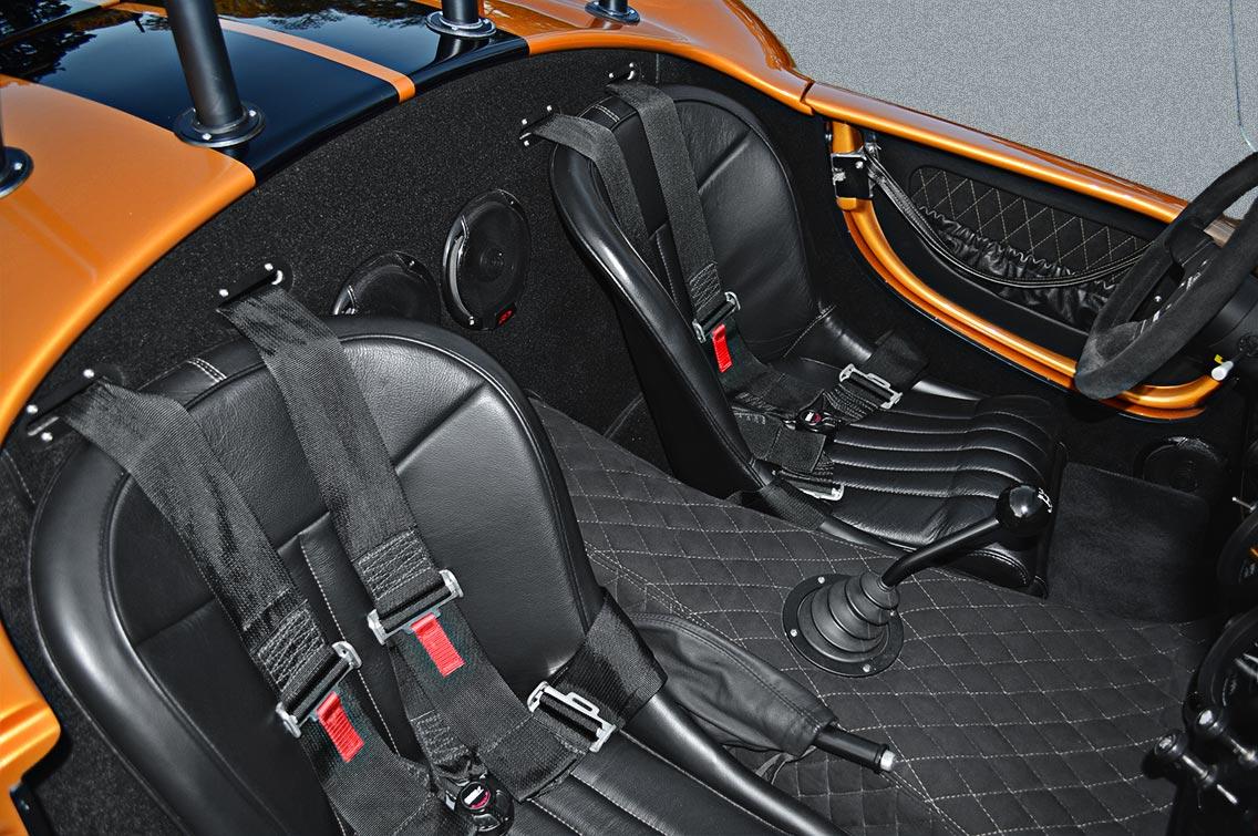 seating area shot of Giallo Capri (bronze) Backdraft Racing 427SC Shelby classic Cobra replica for sale, BDR1477