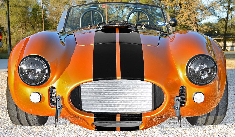 head-on frontal shot of Giallo Capri (bronze) Backdraft Racing 427SC Shelby classic Cobra replica for sale, BDR1477