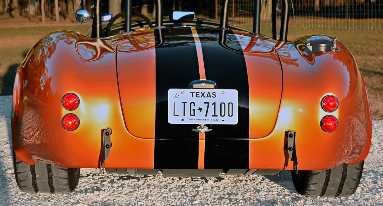 head-on rear shot of Giallo Capri (bronze) Backdraft Racing 427SC Shelby classic Cobra replica for sale, BDR1477s