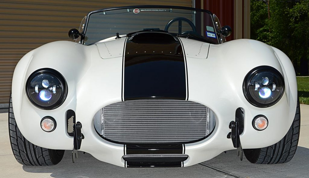 head-on frontal shot of Diamond White Backdraft Racing 427 Shelby classic Cobra Roadster for sale, BDR1751