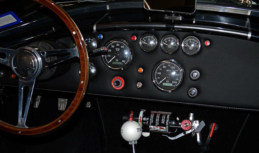 dashboard shot (#1) of black Backdraft Racing 427SC Cobra for sale, BDR1792