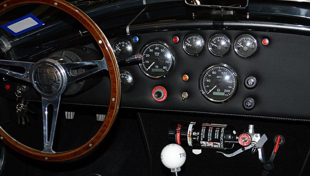 dashboard shot (#2) of black Backdraft Racing 427SC Cobra for sale, BDR1792