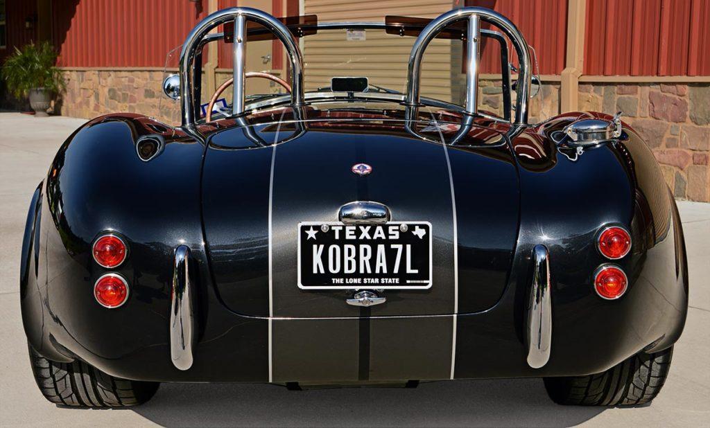 head-on rear shot of black Backdraft Racing 427SC Cobra for sale, BDR1792