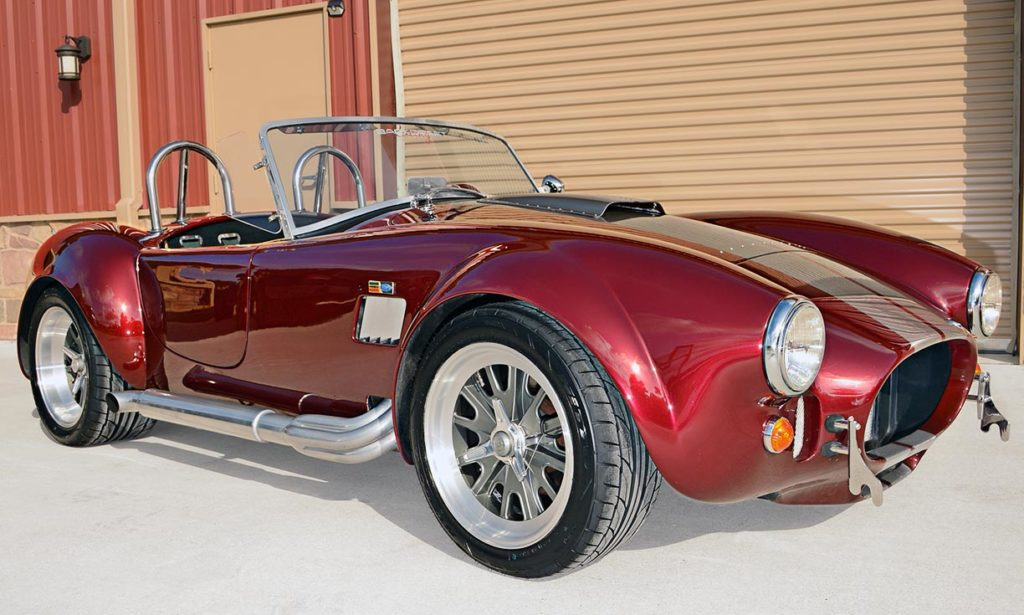 3/4-frontal shot (passenger side) of Prism Red Backdraft Racing replica of Shelby classsic 427SC Cobra for sale, BDR625