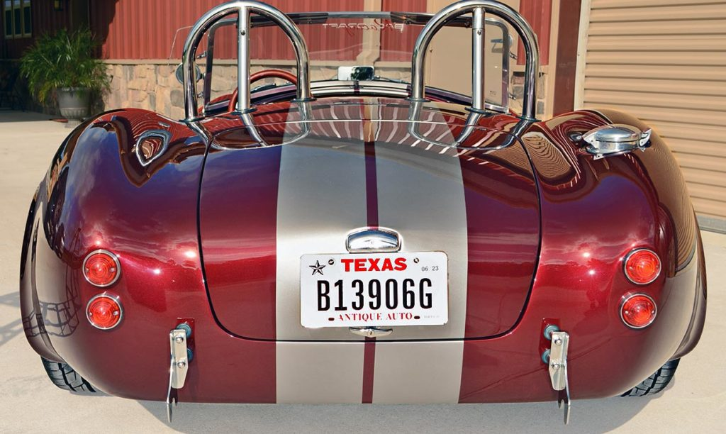 head-on rear shot of Prism Red Backdraft Racing replica of Shelby classsic 427SC Cobra for sale, BDR625