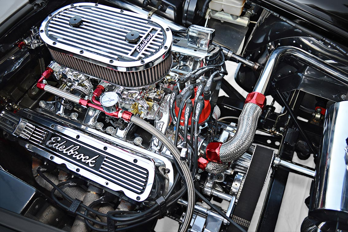 photo of Keith Craft 427 (stroker) engine in Onyx Black Backdraft Racing 427SC Shelby classic Cobra replica for sale, BDR752